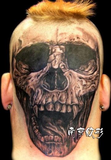 头部纹身图案:后脑勺炫酷3d骷髅纹身