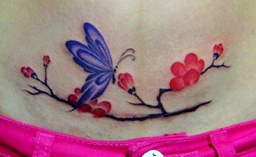 破腹产后腹部盖疤梅花蝴蝶纹身图案